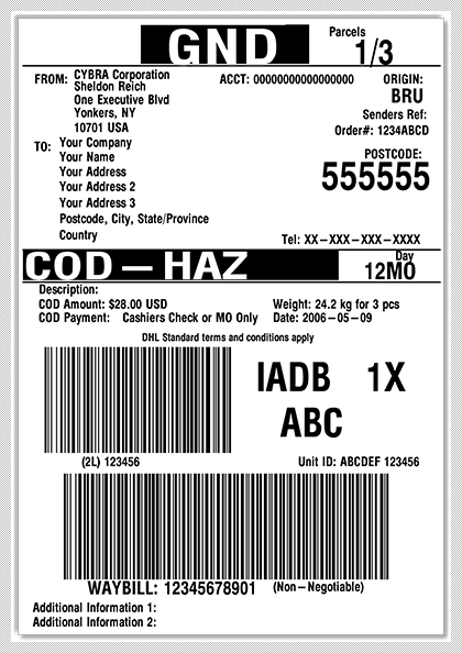 Develop DHL shipping labels with MarkMagic within your Manhattan WMi license.